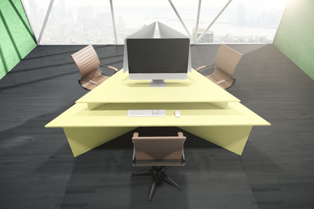 workspace: Office interior with abstract yellow triangular table, three swivel-chairs, blank computer monitor and city view with daylight. Mock up, 3D Rendering