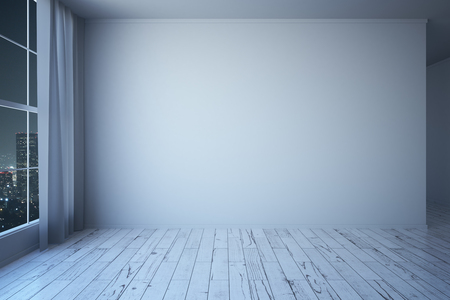 curtain up: Side view of white minimalistic interior with wooden floor, blank concrete wall, window with night city view and curtains. Mock up, 3D Rendering
