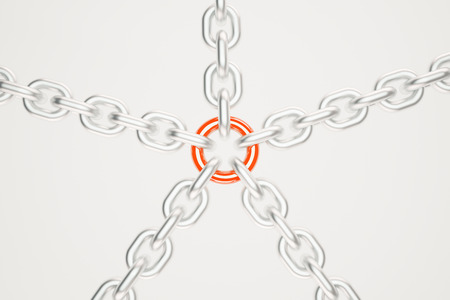 light chains: Silver chains with red link on light background. 3D Rendering