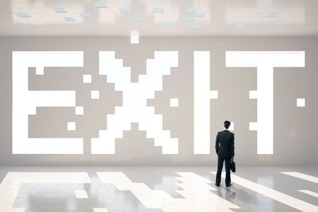 pixeled: Thoughtful businessman with briefcase standing in interior with pixeled exit text. 3D Rendering