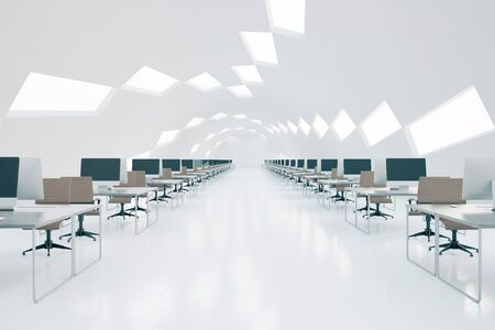 Abstract futuristic coworking office interior with multiple workplaces and patterned ceiling. 3D Rendering Stock Photo