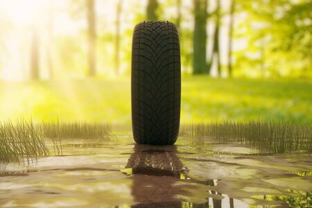 summer tires: Side view of tire outside in the dirt. Green trees and grass in the background. 3D Rendering Stock Photo