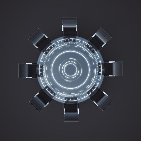 collegial: Top view of digital meeting table on dark background. 3D Rendering