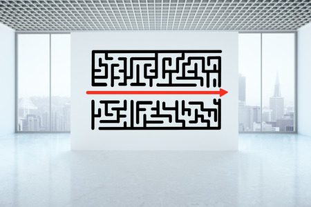 overcoming: Maze sketch on concrete wall in interior. Business challenge and obstacle overcoming concept