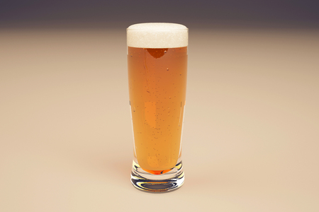 brewed: Closeup of full beer glass on light background. 3D Rendering Stock Photo