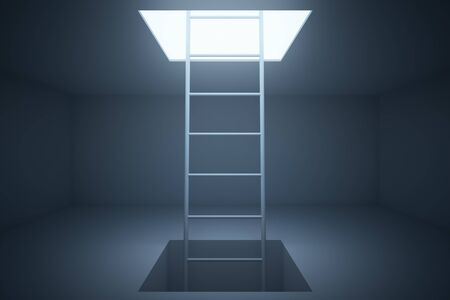 clamber: Escape ladder in grey room. 3D Rendering Stock Photo
