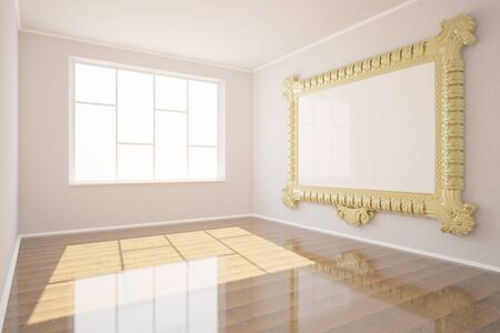 clean floor: New clean woom interior with window, shiny wooden floor and blank ornate picture frame hanging on concrete wall. Mock up, 3D Rendering