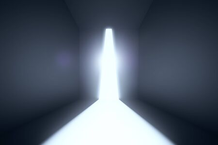 dark room: Empty concrete room with abstract bright light. 3D Rendering