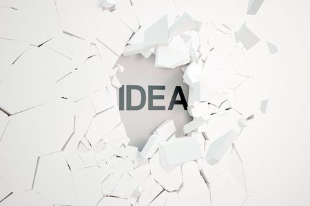 pared rota: Concepto de la idea con el muro de hormigón roto y texto. Representación 3D