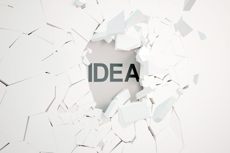 text 3d: Idea concept with broken concrete wall and text. 3D Rendering