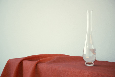 glass jars: Glass vase filled with water placed on surface covered with red cloth on concrete wall background with copy space. 3D Rendering