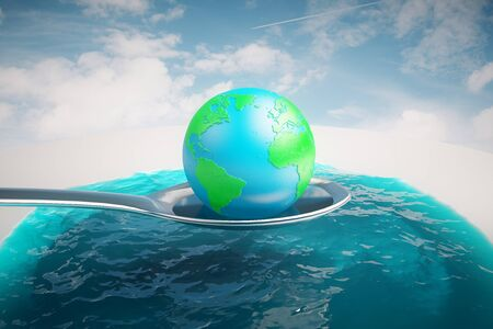 terrestrial: Abstract image of terrestrial globe on a huge silver spoon above water on sky background. 3D Rendering