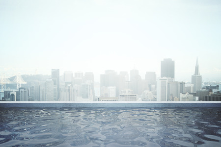 commercials: Rooftop swimming pool with panoramic city view. 3D Rendering Stock Photo