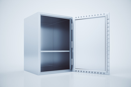 open box: Side view of empty open safe box on light background. 3D Rendering