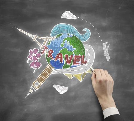 globe terrestre dessin: croquis Voyage de dessin d'affaires � la main sur fond tableau.