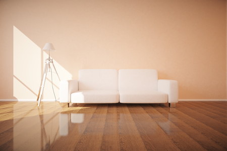 white sofa: Front view of white sofa and lamp in new interior with shiny wooden floor, concrete wall and daylight. 3D Rendering Stock Photo