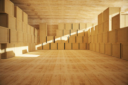 factory floor: Spacious wooden warehouse interior with multiple storage containers. 3D Rendering