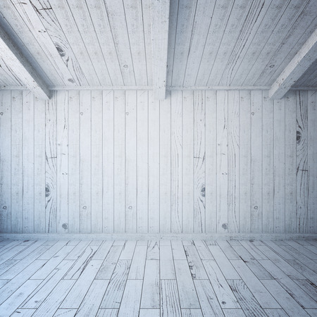 blank wall: Front view of blank wall in wooden plank interior. Mock up, 3D Rendering Stock Photo