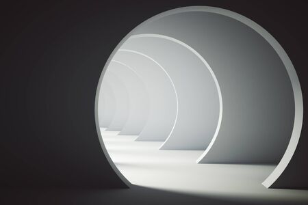 tunnel light: Abstract light concrete tunnel. 3D Rendering