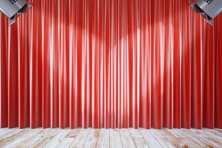 limelight: Front view of empty red curtains and wooden floor with two spotlights. Stage interior. Mock up, 3D Rendering Stock Photo