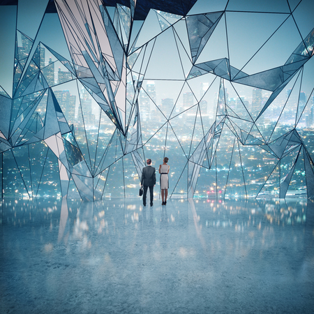 abstract business: Business man and woman standing in abstract interior with shiny concrete floor and large polygonal window with night city view. 3D Rendering