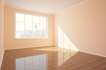 daylight: New empty interior with shiny wooden floor, concrete walls, window with city view and daylight. 3D Rendering