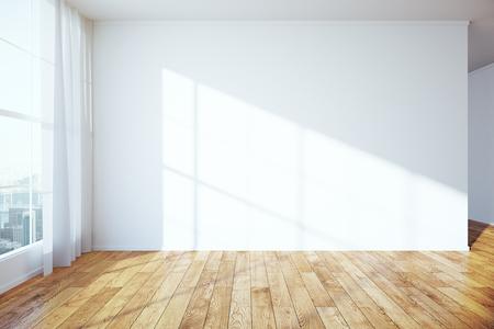 Zijaanzicht van het interieur met houten vloer, lege betonnen muur, raam met uitzicht op de stad en gordijnen. Mock-up, 3D-rendering