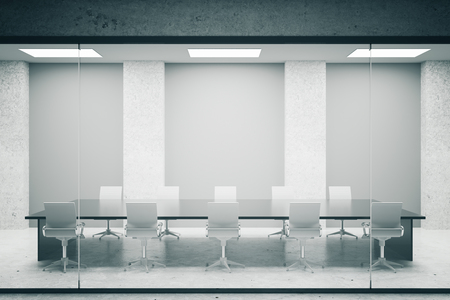 Concrete conference room interior with blank grey posters. Mock up, 3D Rendering