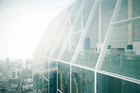 Close-up van glazen dak van een gebouw exterieur met see-through kantoor interieur op de achtergrond van de stad. 3D Rendering