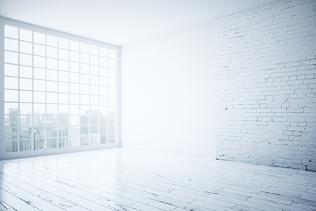 window view: Side view of bright interior with white brick wall, wooden floor and window with city view. 3D Rendering