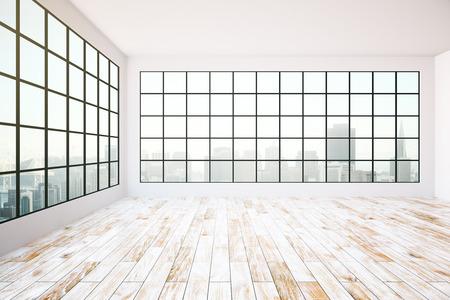 Empty Interior Design With Dark Frames Windows, City View, Aged ...