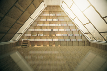 libraries: Loft library interior with wooden floor, panoramic triangular windows and tall bookshelves. 3D Rendering Stock Photo