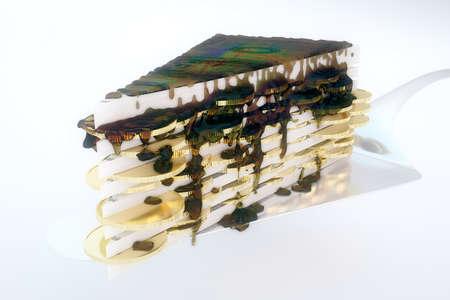 porcion de pastel: Pedazo grande de los billetes de d�lares abstracta, la moneda y la torta de aceite sobre fondo claro. Representaci�n 3D