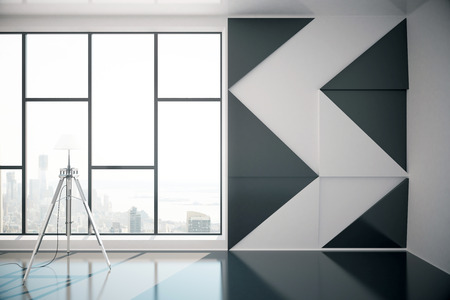 interior window: Interior design with patterned black-and-white wall, floor lamp and window with city view. 3D Rendering