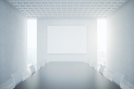 boardroom: Bright concrete conference room interior with blank banner. Mock up, 3D Rendering Stock Photo