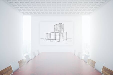 conference room: Conference room interior with construction sketch on banner. 3D Rendering