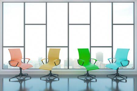 cadeira: cadeiras giratórias coloridas no interior com piso de concreto brilhante e janela panorâmica com vista para a cidade. rendição 3D