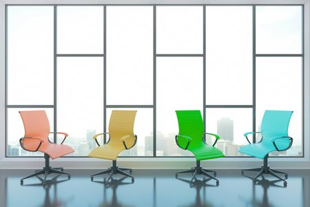 swivel: Colorful swivel chairs in interior with glossy concrete floor and panoramic window with city view. 3D Rendering