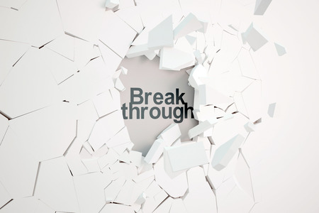 punched through: Break through concept with broken concrete wall and text. 3D Rendering