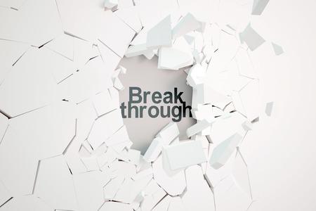 Rotura por concepto con el muro de hormigón roto y texto. Representación 3D