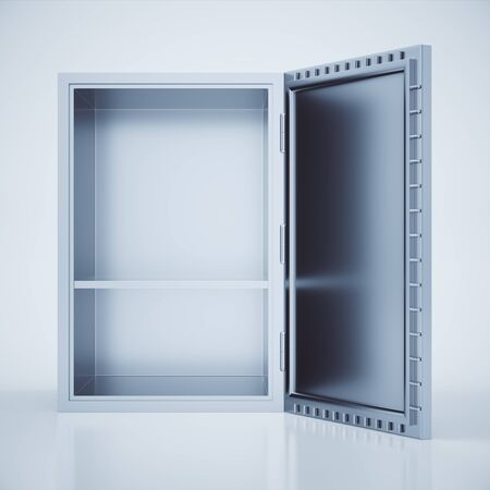 open box: Front view of empty open safe box on light background. 3D Rendering