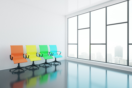 swivel: Colorful swivel chairs in interior with glossy concrete floor and panoramic window with city view. Side view, 3D Rendering Stock Photo