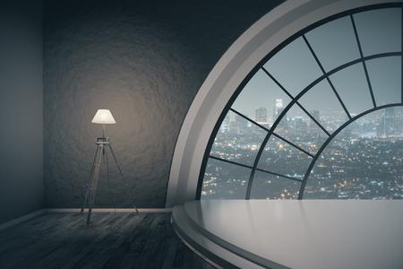 Interieur met trap podium, staande lamp en rond raam met uitzicht op de stad 's nachts. 3D Rendering