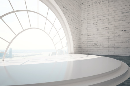 wall: Empty brick interior design with stairs, round window, city view and daylight. 3D Rendering