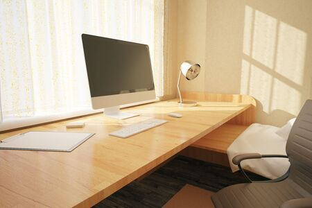 workspace: Side view of workplace with blank computer screen in bedroom interior with swivel-chair, other objects and sunlight. Mock up, 3D Rendering