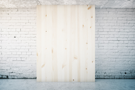 wooden panel: White brick interior with blank light wooden panel. Mock up, 3D Rendering Stock Photo