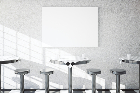 dining tables: Iron tables and chairs in cafe dining area with blank banner on textured concrete wall. Mock up, 3D Rendering