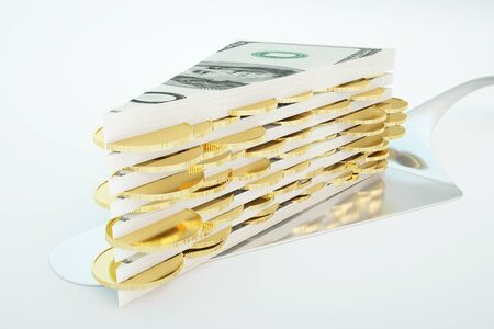 golden shovel: Large piece of abstract dollar banknote and golden coin cake on light background. 3D Rendering Stock Photo