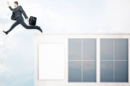 roof windows: Businessman with briefcase jumping off roof of concrete building with windows and blank poster on sky background. Success concept. Mock up, 3D Rendering