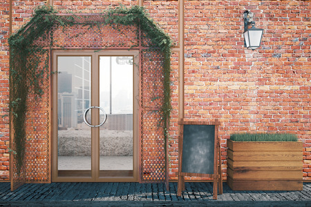 glass doors: Elegant red brick food shop exterior design with blank menu board, glass doors and lantern. 3D Rendering Stock Photo